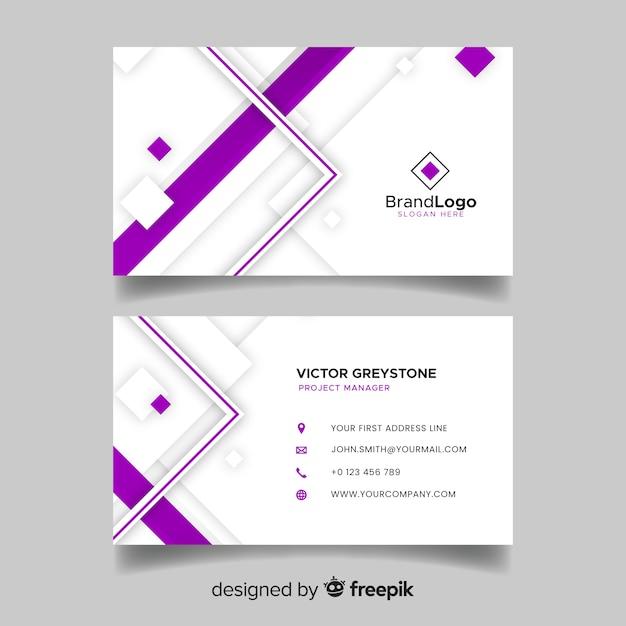 Sjabloon voor geometrische visitekaartjes in abstracte stijl Gratis Vector