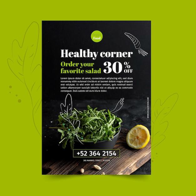 Sjabloon voor gezond restaurant folder Gratis Vector