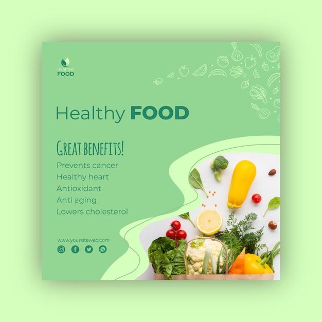 Sjabloon voor gezond voedsel vierkante flyer Premium Vector