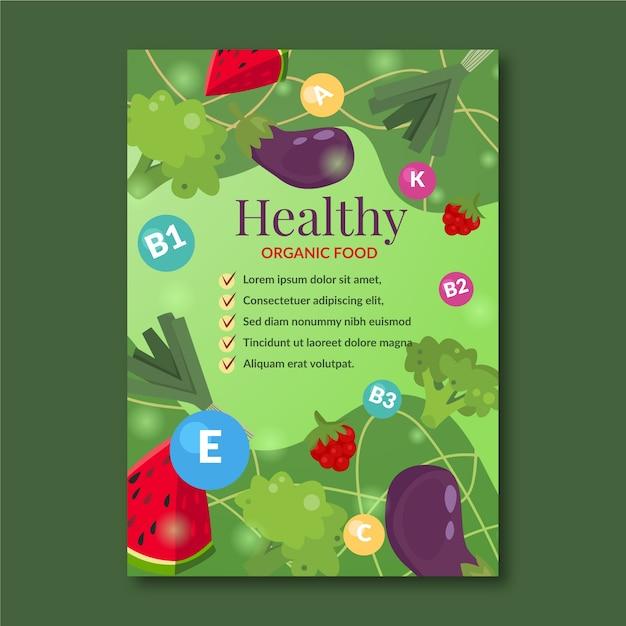 Sjabloon voor gezonde voeding promotie poster Gratis Vector