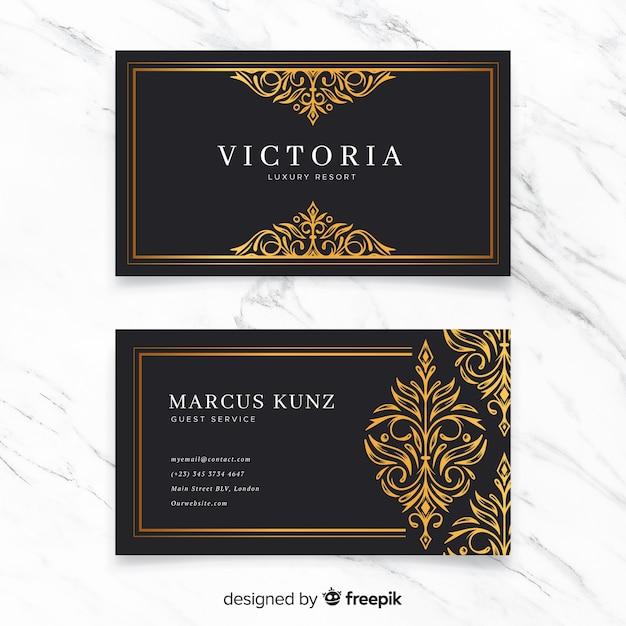 Sjabloon voor gouden sier visitekaartjes Gratis Vector