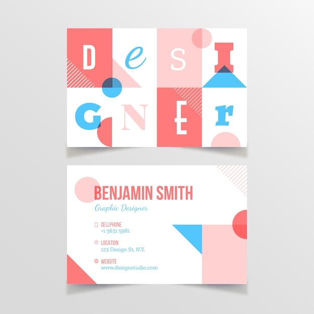 Sjabloon voor grappige grafisch ontwerper visitekaartjes Gratis Vector