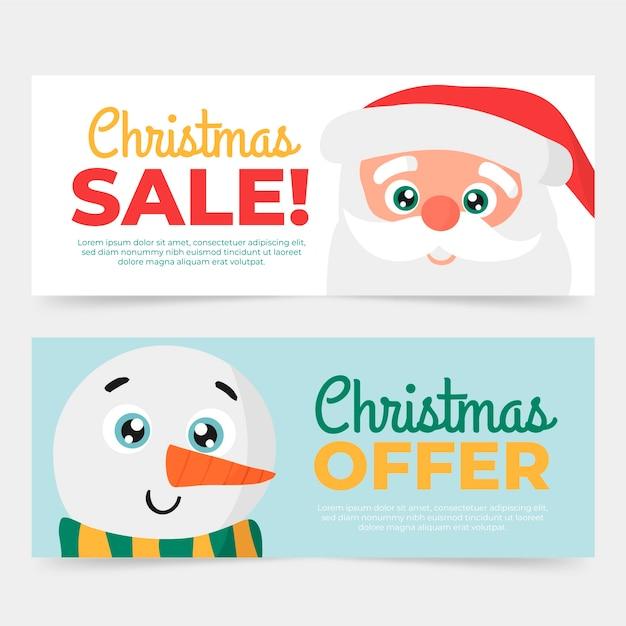 Sjabloon voor hand getrokken kerst verkoop banners Gratis Vector