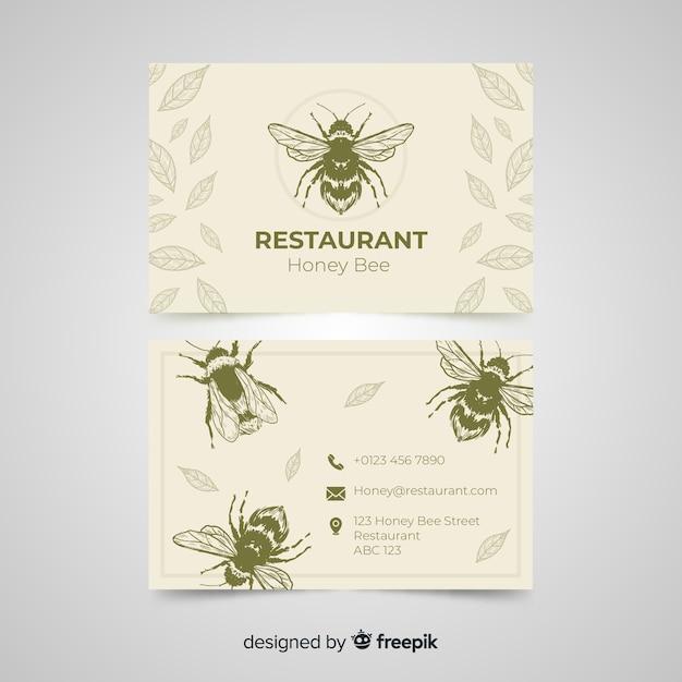 Sjabloon voor hand getrokken restaurant visitekaartjes Gratis Vector