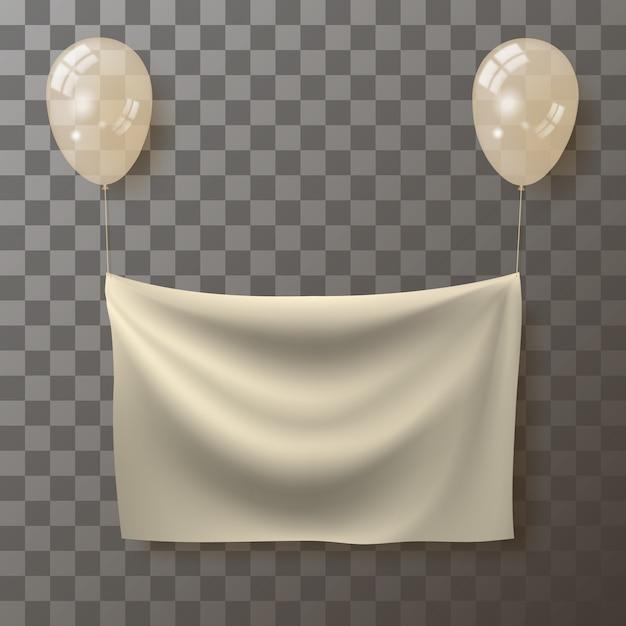 Sjabloon voor het plaatsen van een advertentie in de vorm van een realistische gerimpelde stof die aan ballonnen hangt. Premium Vector