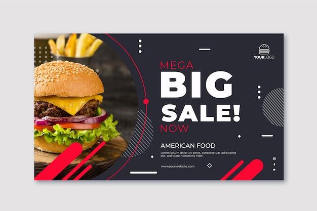 Sjabloon voor horizontaal eten van amerikaans voedsel Gratis Vector