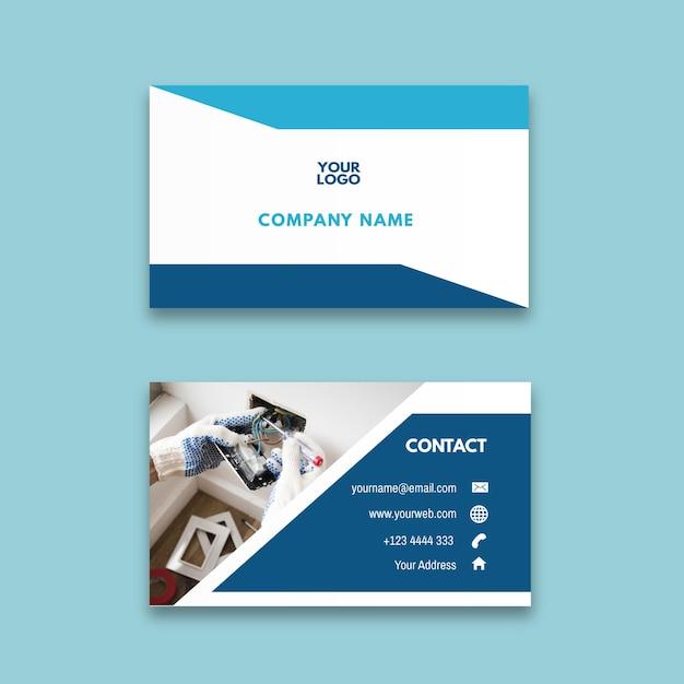 Sjabloon voor horizontaal visitekaartjes voor elektricien advertentie Premium Vector