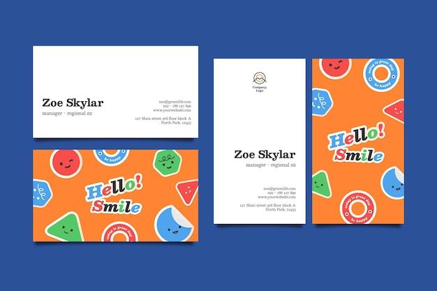 Sjabloon voor horizontale en verticale visitekaartjes met smileygezicht Gratis Vector