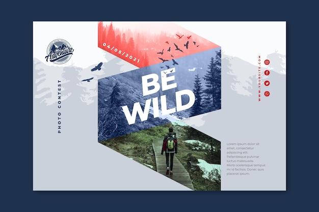 Sjabloon voor horizontale spandoek van wilde natuur Gratis Vector