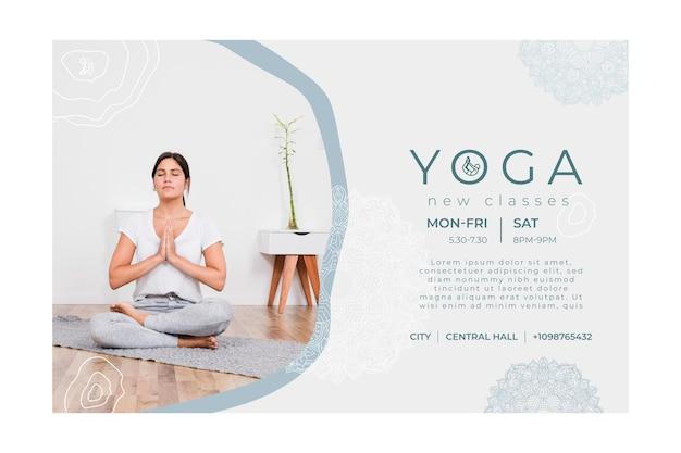Sjabloon voor horizontale spandoek voor het beoefenen van yoga Premium Vector