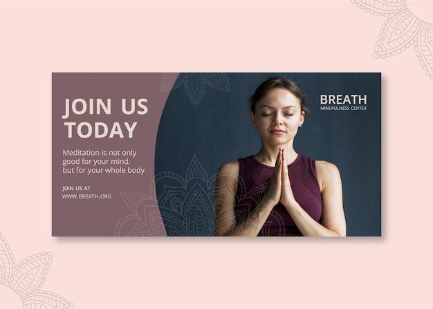 Sjabloon voor horizontale spandoek voor meditatie en mindfulness Gratis Vector