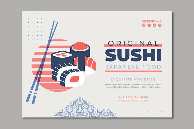 Sjabloon voor horizontale spandoek voor sushi restaurant Gratis Vector