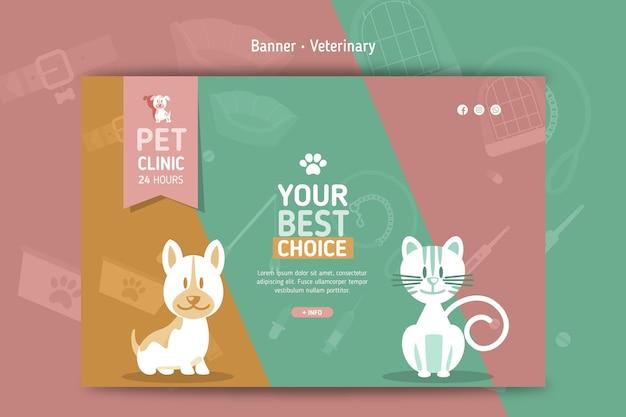 Sjabloon voor horizontale spandoek voor veterinair Premium Vector