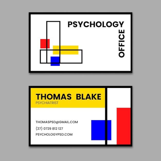 Sjabloon voor horizontale visitekaartjes van psychologiebureau Premium Vector