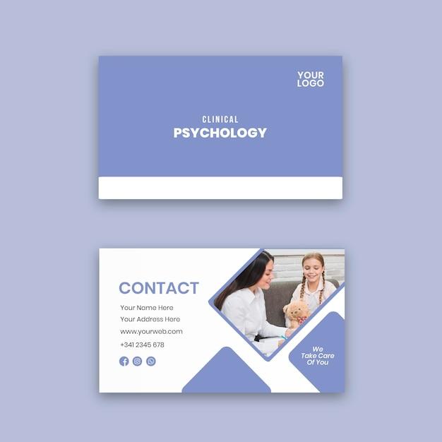 Sjabloon voor horizontale visitekaartjes voor klinische psychologie Premium Vector