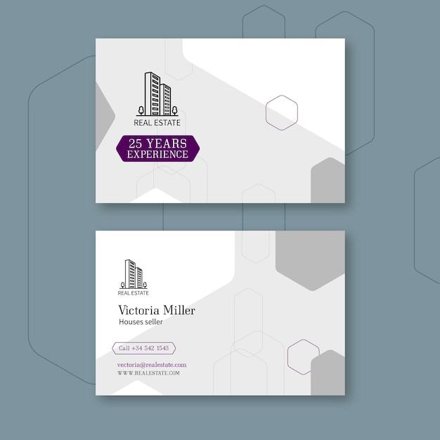 Sjabloon voor horizontale visitekaartjes voor onroerend goed Premium Vector