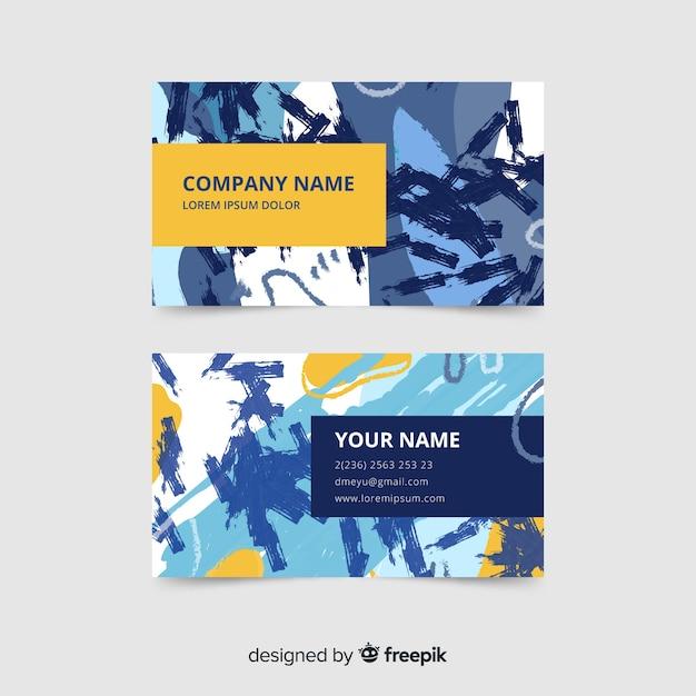 Sjabloon voor kleurrijke handgeschilderde visitekaartjes Gratis Vector