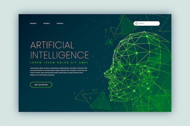 Sjabloon voor kunstmatige intelligentie van bestemmingspagina Gratis Vector
