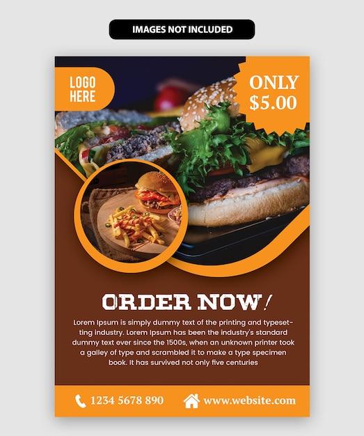 Sjabloon voor levensmiddelen flyer Premium Vector