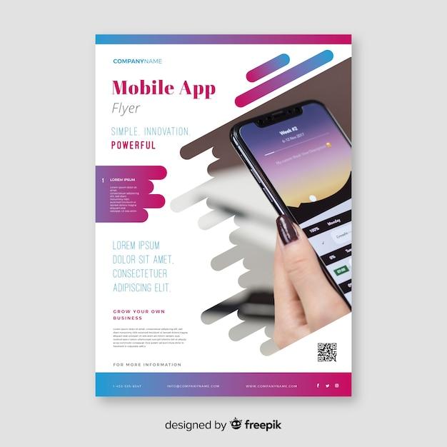 Sjabloon voor mobiele app-flyer Gratis Vector