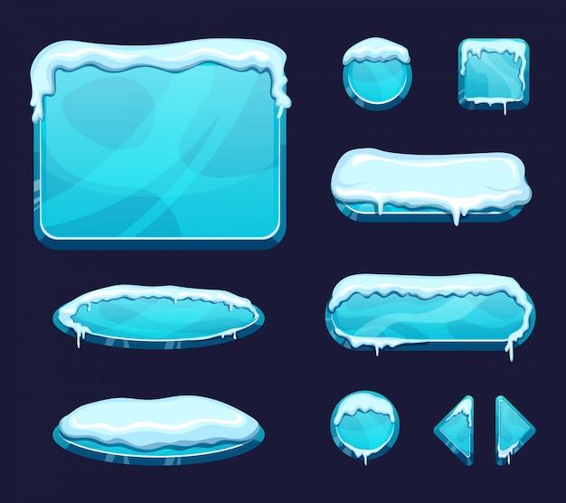 Sjabloon voor mobiele game ui in cartoon stijl. glanzende knoppen en panelen met ijs en sneeuw caps Premium Vector