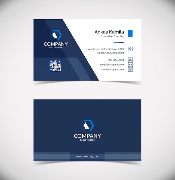 Sjabloon voor modern geometrische visitekaartjes Premium Vector