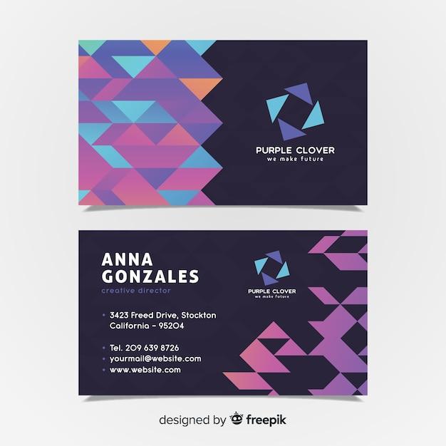 Sjabloon voor modern visitekaartjes met geometrische vormen Gratis Vector