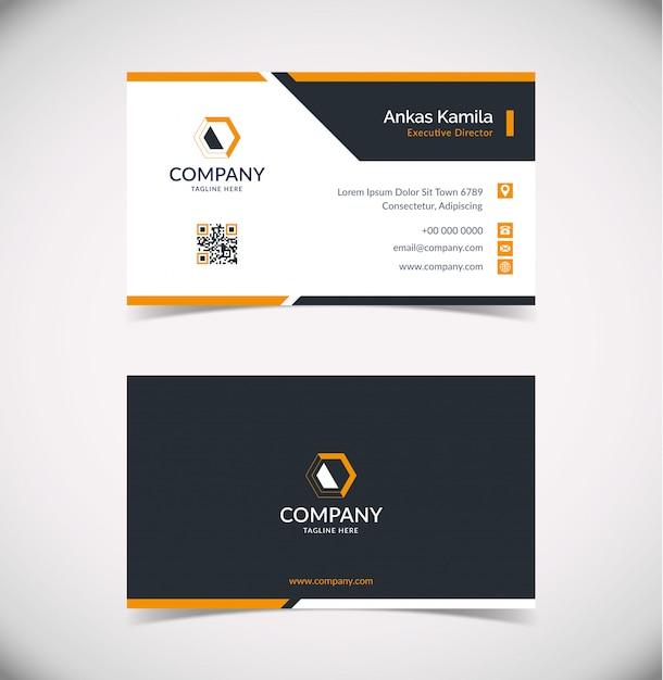 Sjabloon voor modern zwart en oranje geometrische visitekaartjes Premium Vector