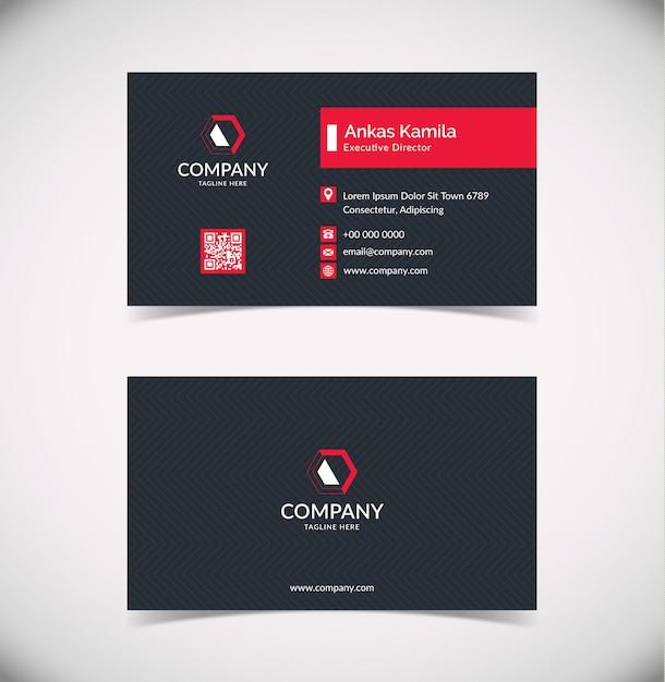 Sjabloon voor modern zwart en rood geometrische visitekaartjes Premium Vector