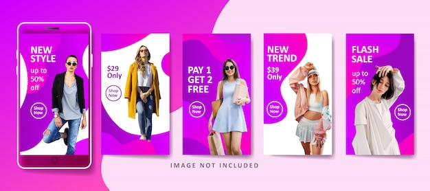 Sjabloon voor moderne mode vloeibare spandoek voor sociale media Premium Vector