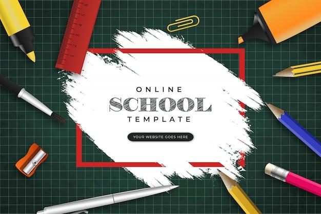 Sjabloon voor online school-spandoek met penseelstreek en briefpapier Gratis Vector