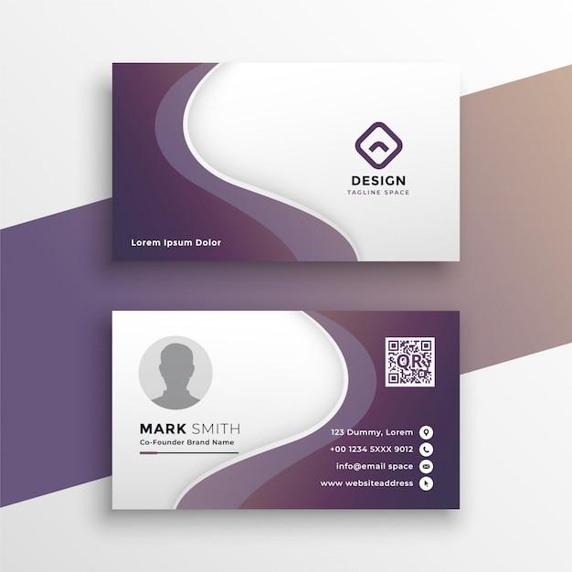 Sjabloon voor paarse golvende visitekaartjes ontwerp Gratis Vector