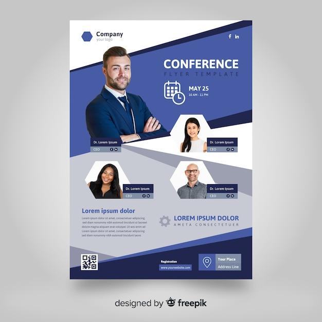 Sjabloon voor platte abstracte business conference flyer Gratis Vector