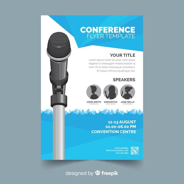 Sjabloon voor platte abstracte business conference flyer Premium Vector