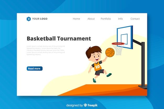 Sjabloon voor platte basketbal-bestemmingspagina Gratis Vector