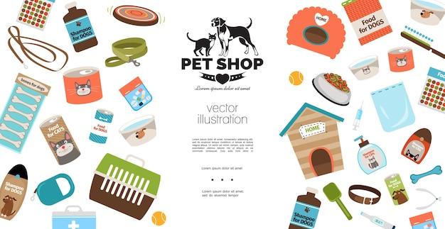 Sjabloon voor platte honden- en kattenproducten Gratis Vector