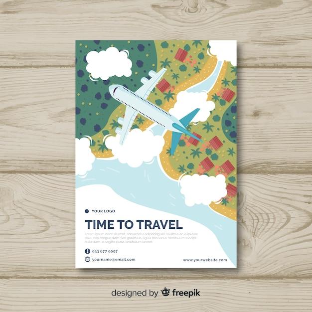 Sjabloon voor platte reizen flyer Gratis Vector