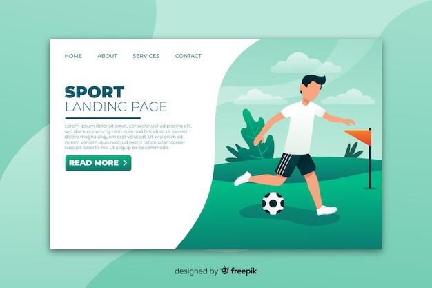 Sjabloon voor platte sportlandingspagina's Gratis Vector