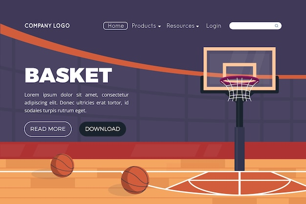 Sjabloon voor platte sportlandingspagina's Premium Vector