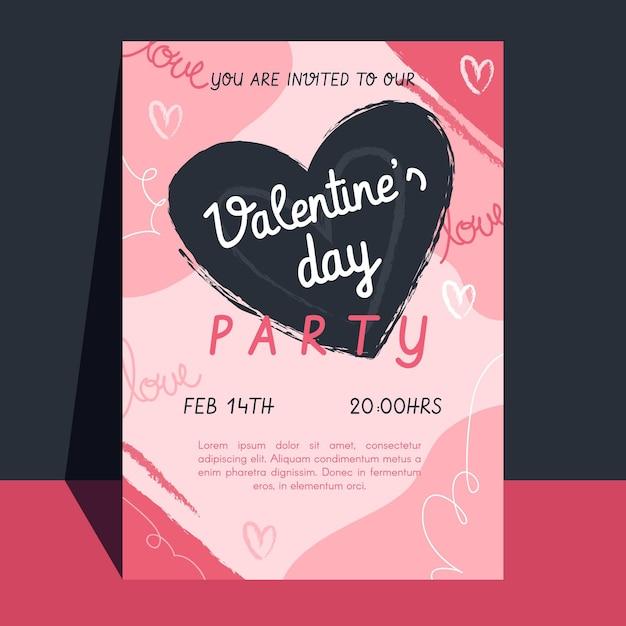 Sjabloon voor platte valentijnsdag partij folder Gratis Vector