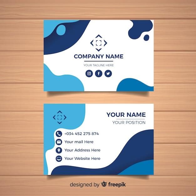 Sjabloon voor platte visitekaartjes Gratis Vector
