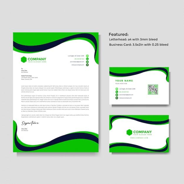 Sjabloon voor professioneel creatief briefpapier en visitekaartjes Premium Vector