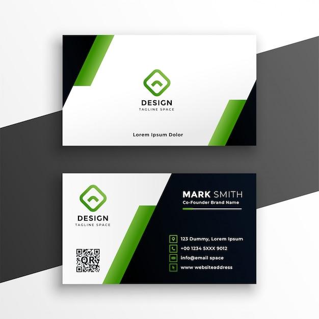 Sjabloon voor professionele geometrische groene visitekaartjes Gratis Vector