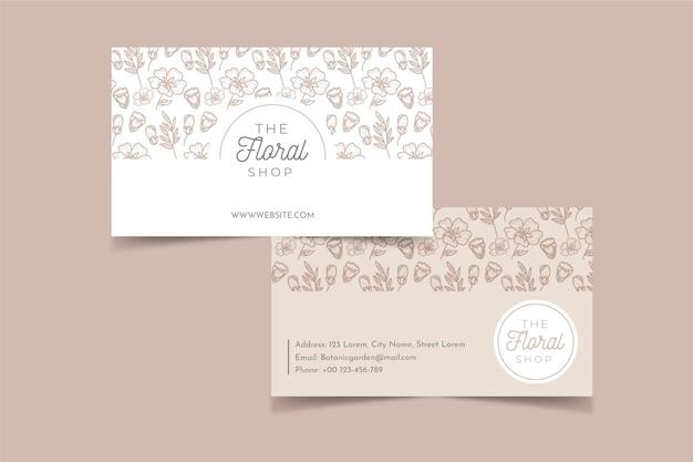 Sjabloon voor realistisch hand getekend floral visitekaartjes Gratis Vector