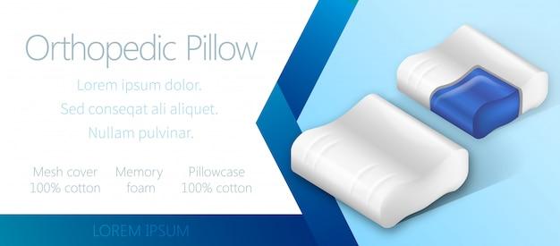 Sjabloon voor reclame-spandoek met orthopedische kussen. Premium Vector