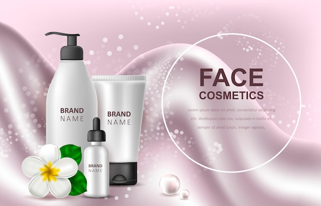 Sjabloon voor reclame voor cosmetische producten Premium Vector