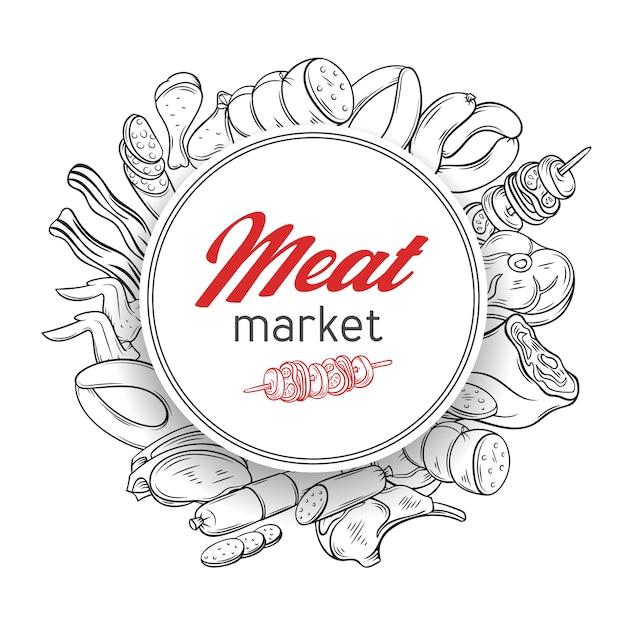 Sjabloon voor ronde spandoek met hand getrokken gravure gastronomische vleesproducten Premium Vector