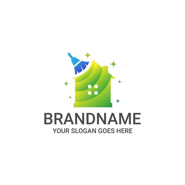 Sjabloon voor schoon huis-logo Premium Vector