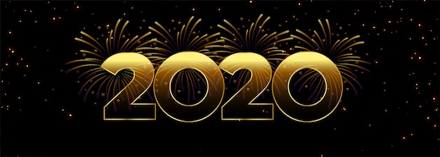 Sjabloon voor spandoek 2020 gelukkig nieuwjaar vuurwerk Gratis Vector