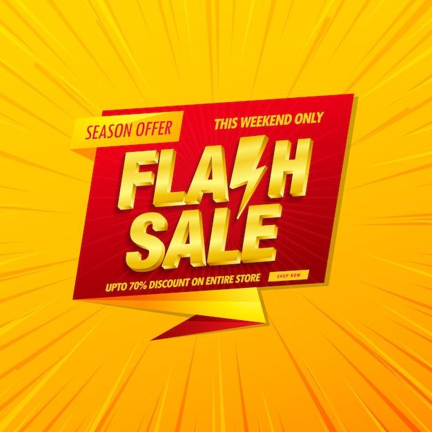 Sjabloon voor spandoek flash verkoop met 3d tekst op geel Premium Vector
